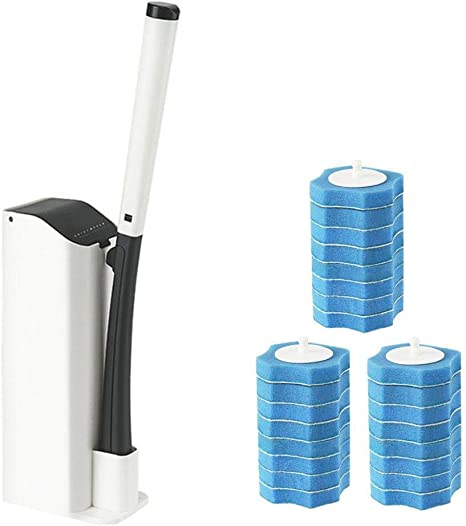 BOOMJOY Toilet Bowl Cleaner Wand Disposable Cleaner Brush and Holder with 16 Cleaning Refills for Bathroom Cleaning