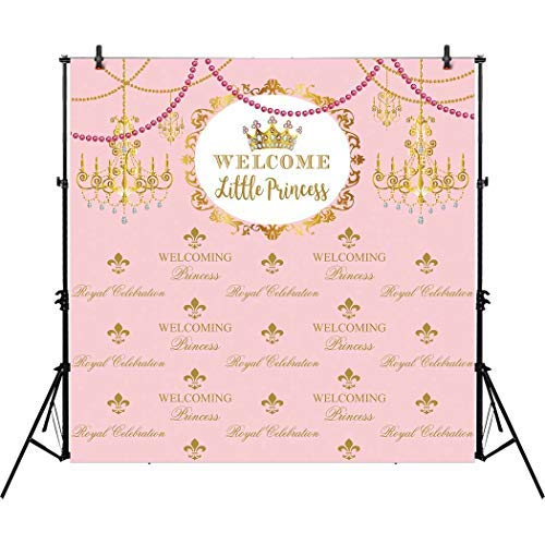 Allenjoy 8x8ft Royal Pink Step and Repeat Backdrop Baptism Christening Welcome Little Princess Girl 1st First Birthday Party Event Baby Shower Chandelier Background Dessert Buffet Table Photo Booth -