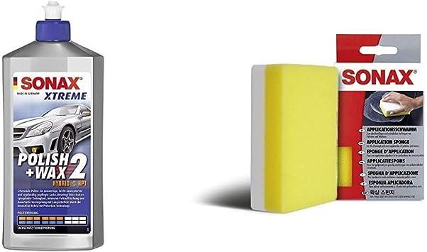 Sonax Xtreme Polish Wax 2 Hybrid Npt 500 Ml Schonende Politur Mit Mittlerer Wirkung Für Regelmäßig Gepflegte Lacke Applikationsschwamm 1 Stück Zum Auftragen Und Verarbeiten Von Polituren Etc Auto