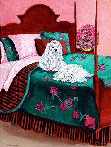 Caroline's Treasures 7110CHF Maltese Waiting on Mom Flag Canvas, Large, Multicolor