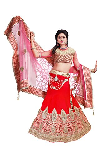 IWS Womens Velvet Fabric Red Pretty Unstitched Lehenga Choli 79524