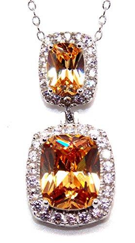 Argent sterling morganite et diamant 11.75CT Ensemble collier (925)