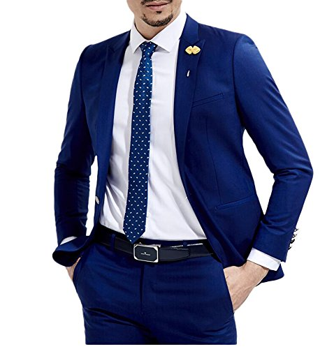 Botong Slim Fit Royal Blue Wedding Suits 2 Pieces Men Suits Groom Tuxedos Royal Blue 34 chest 28 waist