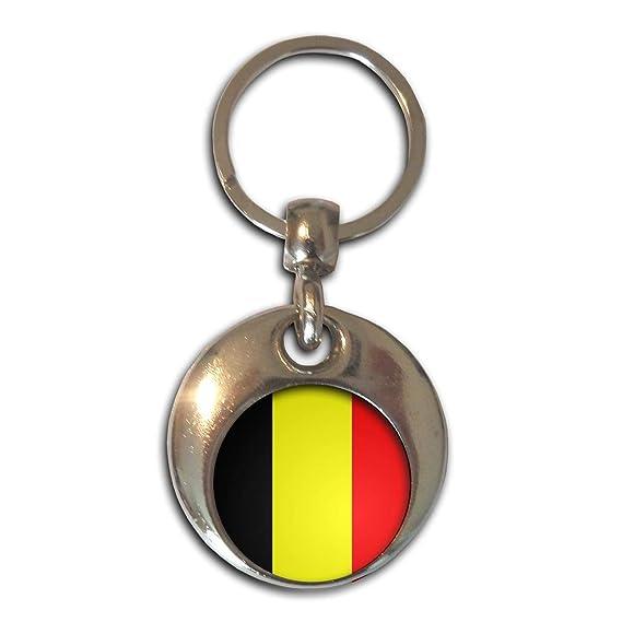 Belgium Flag - Cromo Ronda de doble cara llavero: Amazon.es ...