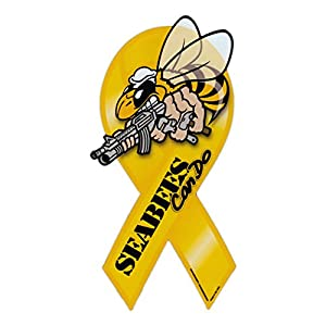 "Refrigerator Magnet - Ribbon - Seabees - United States Navy Construction Battalion - Sea Bees - 8"" x 3.75"" from Crazy Sticker Guy"