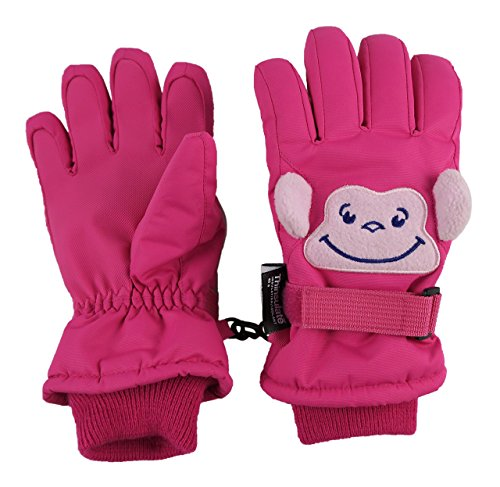 Price comparison product image N'Ice Caps Little Kids Squeaky Sound Cute Animal Face Waterproof Gloves (3-4 Years, Monkey - Fuchsia/Pink)