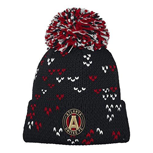fan products of MLS Atlanta United FC Women's Fan Wear Cuffed Pom Knit Beanie, One Size, Black