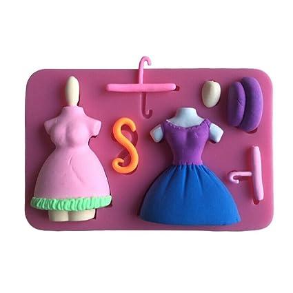 guita Jam Falda de hermoso tocador Shaped 3d pastel de silicona Fondant Hornear Decoración de Pasteles