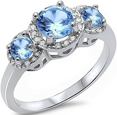 Halo 3 Simulated Aquamarine Stone & Cubic Zirconia .925 Sterling Silver Ring Sizes 5-10