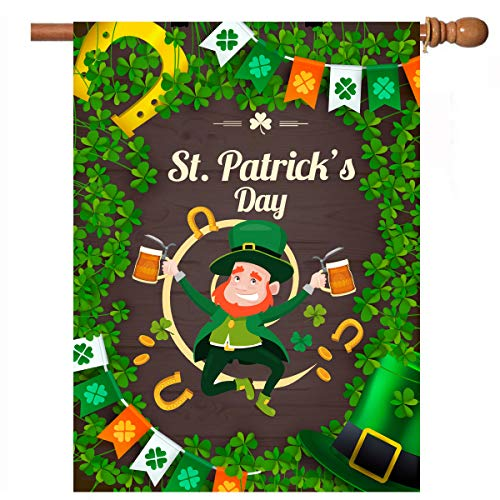 De Lon St. Patricks Day Flag, 28x40 St. Patricks Garden Flag, Double Linen Fabric, Mildew, Fading and Dirty, Courtyard Decoration, Home, Outdoor Decor