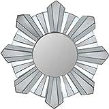 Cheap Northlight 25″ Sparkling Sunburst Wave Matte Silver Decorative Round Wall Mirror