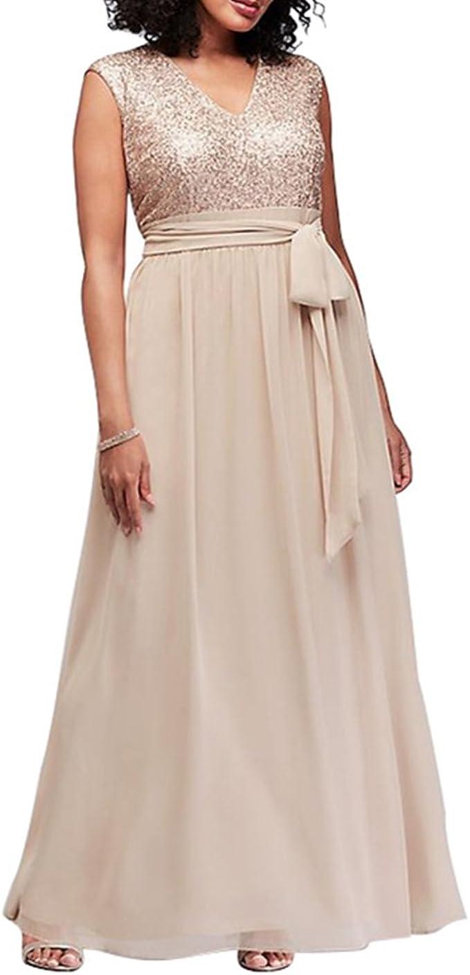 zhbotaolang Frauen Chiffon Casual Armelloses Maxi-Kleid mit V