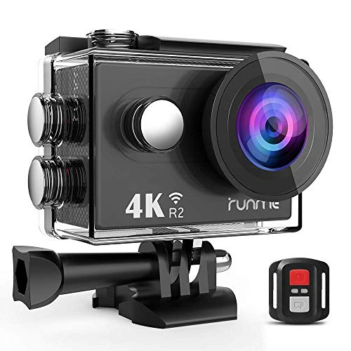 RUNME R2 4K WiFi Action Camera Ultra HD Waterproof Camcorder 12MP 170 Degree Wide Angle 2.4G Remote Control 2 Inch LCD Screen Plus 1050mAh Rechargeable Battery
