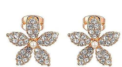 AMDXD Bijoux Plaqué Or Femme Boucles D'oreilles Or Rose Une Fleur Forme 1.4*1.4CM
