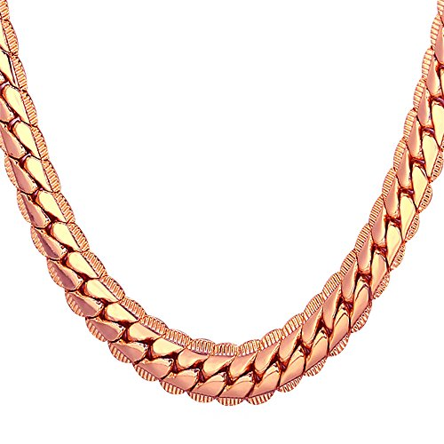 U7 Men Chunky Necklace Street Rock Hip Hop Jewelry Big 9MM Wide Rose Gold Plated Thick Chain - 22 (Thick Gold Plated)