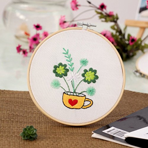 Embroidery Hoop Clover (Cross Stitch Stamped Embroidery Kit - Eafior DIY Beginner Counted Starter Cross Stitch Kit for Art Craft Handy Sewing Including Color Pattern Embroidery Cloth,Embroidery Hoop,Color Threads,Tools Kit)