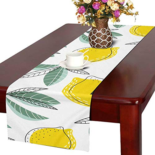INTERESTPRINT Christmas Table Runner and Dresser Scarf, Rectangular Bright and Juicy with Lemons (14x72 Inches) - Juicy Scarf