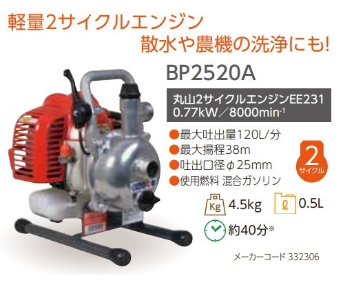丸山製作所 エンジンポンプ BP2520A 332306 最大吐出量120L/分 最大揚程38m 吐出口径φ25mm 使用燃料混合ガソリン ビッグエム  B07F3VD744