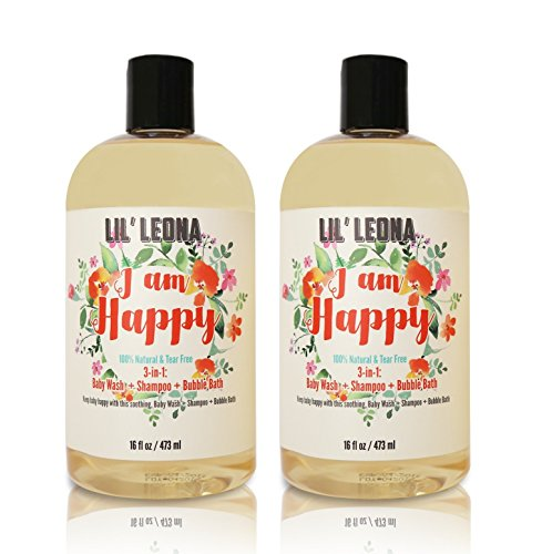 Boo Extra Gentle Shampoo (3-in-1 Baby Shampoo Bubble Bath and Body Wash - 16 oz (2 pack)- By Lil Leona)