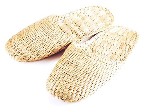 100% Natural Handmade Sandals / Slippers for Men and Ladies – Hand Woven Water Hyacinth – Knitted Style Large (L10.5 x 3.5 approx.)