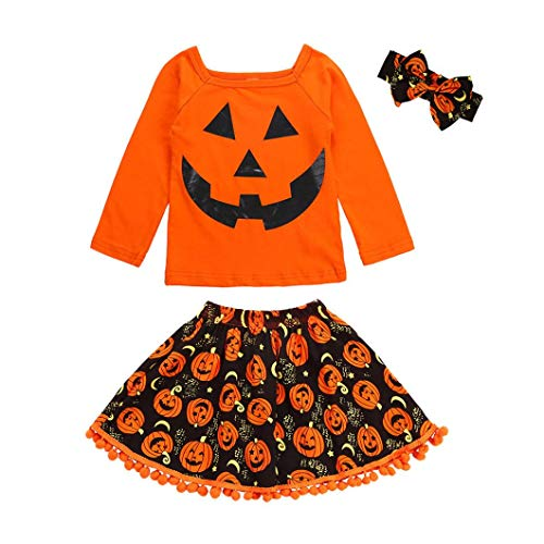 Suppion 2018 3Pcs Toddler Kids Baby Girls Cartoon Tops Skirt Halloween Costume Outfits Set (Orange, 90)