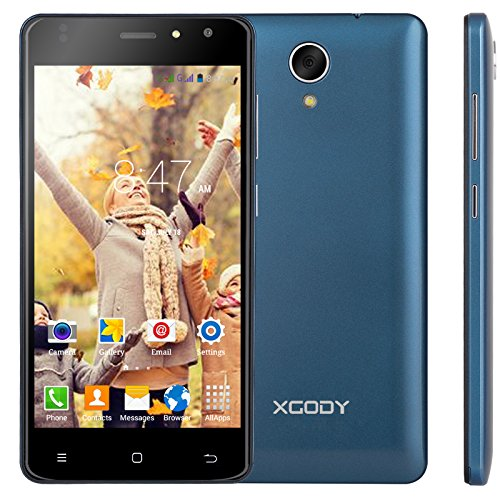 Xgody 4G Unlocked Cell Phones X200 Pro 5 Inch Android 6.0 8GB ROM Quad-Core 8MP 720 x 1280 Pixels HD Screen Camera Wifi Dual Sim Smartphones Royal Blue (Pda Cellular Wifi Phone Gsm)