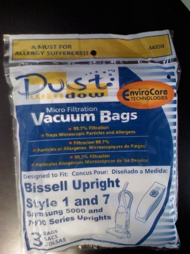 EnviroCare Replacement Microfiltration Dust Window Vacuum Bags for Bissell Style 1 and 7 Uprights 3 pack