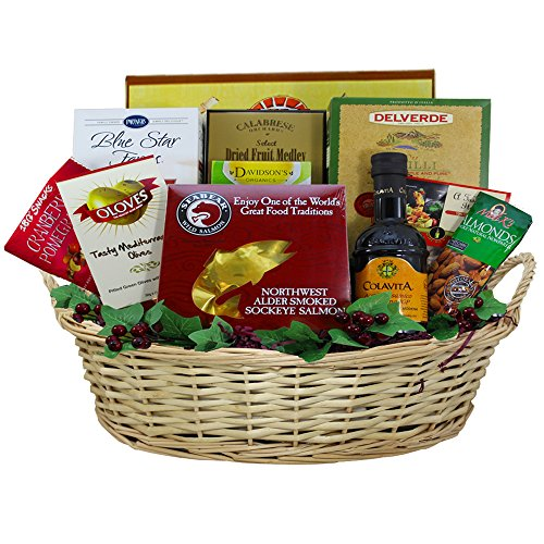 Heart Healthy Gourmet Food Gift Basket with Smoked Salmon, Dried Fruit, and More