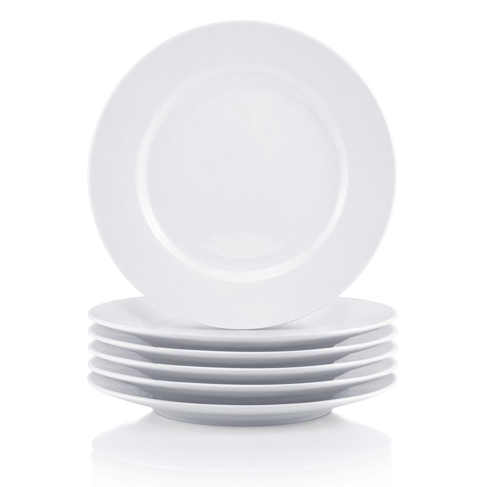 Bestone 6-Piece Porcelain Salad Plates, 8 Inch, Classic Round and White with Wide Rim, Dishwasher, Microwave, Freezer, Oven Safe, BPA-Free for Everyday Use