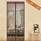 """Spritech Embroider Flower Style Entry Door Screen, Screen Door Magnets Patio Door Mesh 36"""" X 83"""" Fit Doors Size Up to 34"""" W X 82"""" H Max with Full Frame Velcro Fly Mosquito Curtain"""
