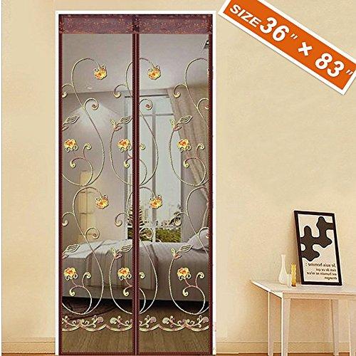 Spritech Embroider Flower Style Entry Door Screen, Screen Door Magnets  Patio Door Mesh 36u0027