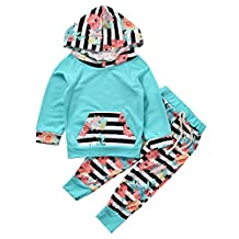 2Pcs/Set Toddler Baby Girl Clothes Floral Hoodie Sweashirt Pants Leggings Outfit
