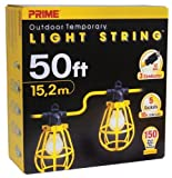 Prime LSUG2830 50-Feet 5-Bulb 12/3 SJTW Outdoor Temporary Light String, Yellow by Prime