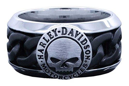 Harley Davidson Ring (Harley-Davidson Men's Black Steel Chain Willie G Skull H-D Ring HSR0030 (13))