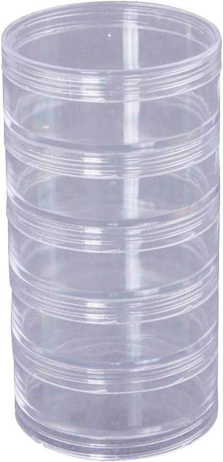 SUPVOX Caja de almacenamiento de 5 capas Contenedores de almacenamiento de perlas Cilindro de plástico duradero Caja de almacenamiento redonda transparente apilable