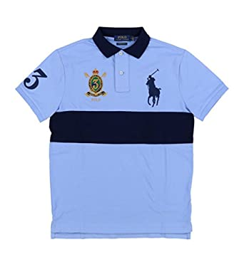 Polo Ralph Lauren Men\u0027s Big Pony Crest Custom Slim Fit Mesh Stripe Polo  Shirt (Small