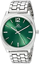 Joshua & Sons Women's JX102GN Silver Quartz Watch with Green Dial and Silver Bracelet