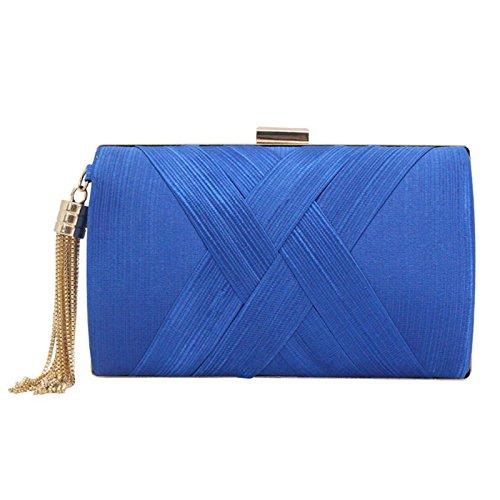 Femme de Bleu Tressé a Franges Soirée Pochette Main Sac Violet Déco Pour Luxe q7PW6ftnO