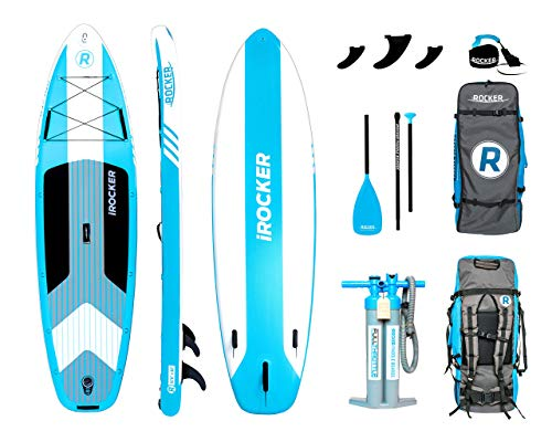 "iROCKER Cruiser Inflatable Stand Up Paddle Board 10'6"" Long 33"" Wide 6"" Thick SUP Package 