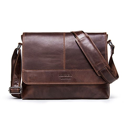 Genuine Leather Mens Crossbody Messenger Shoulder School Bag 12