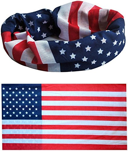 American Flag Bandana / USA Headband / US Bandana - Show Your American Pride - Perfect All Year & July 4th, Memorial, Veterans Day. Wear it when Celebrating, BBQing, Hiking, Fishing. Lab Tested UPF (Athletic Bandana)