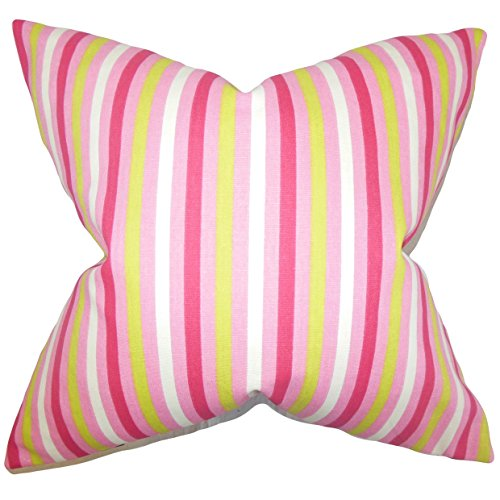 The Pillow Collection Pink Keyla Stripes Bedding Sham, Euro/26