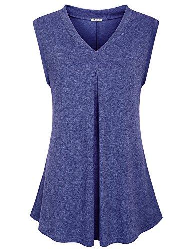 SeSe Code Swing Tank Women Tops for Leggings Flattering Sleeveless T Shirt Cool Design Draped Flow Heather Pleats Running 2XL Tunic Cami Space Dye Blue ()