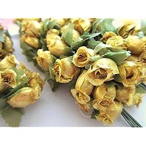 "144 Poly Silk Rose Flower 4"" Stem/leaf/trim/Wedding Bouquet/Artificial H415-Gold US Seller Ship Fast 2"