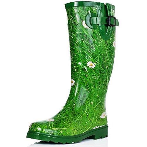 Spylovebuy Women's Funky Flat Wellie Wellington Festival Rain Boots - Assorted Colours UK8 - EU41 - US10 - AU9 Daisy