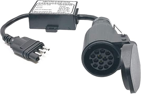 Plug and Play Design CARROFIX US Vehicle 7-Way Blade Connector to European 13-Pin Round Trailer Light Converter