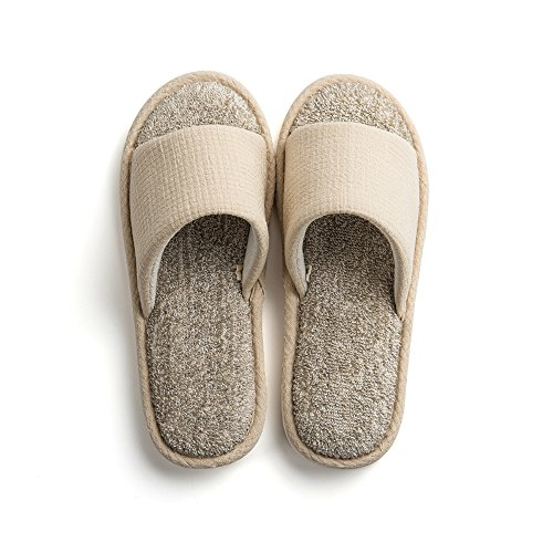 Cotton Spring Womens Open Home Summer Towel House Unisex Shoes Slippers Indoor Indoor Beige Mens Autumn Cloth Slide Paangkei Toe wc1vtqA1