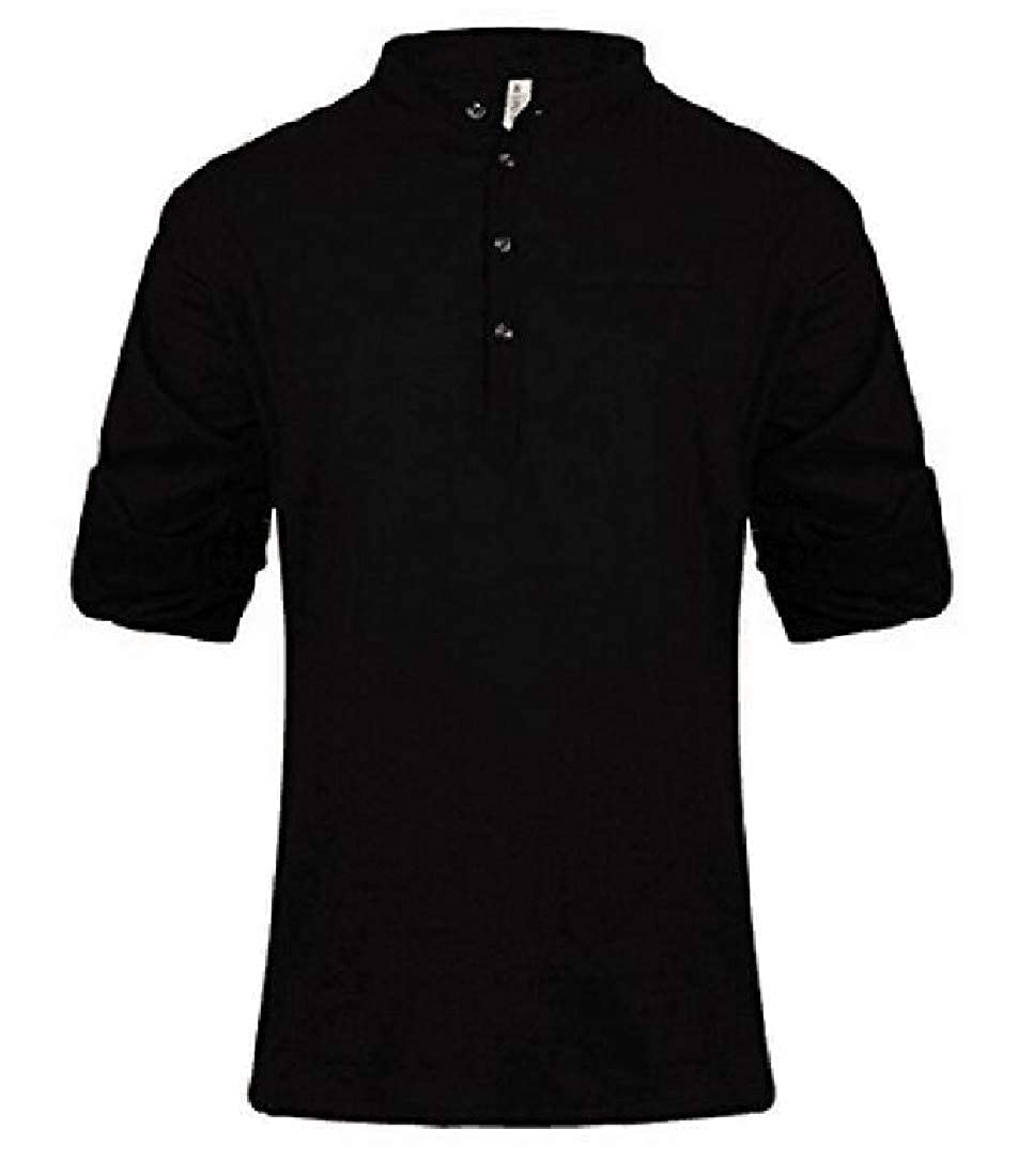Nicelly Mens Button Mandarin Collar Casual Slim Fit Long Sleeve Western Shirt