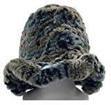 Northstar Women's Rex Rabbit Fur Fashion Bucket Hat, Grey/Blues. H-14
