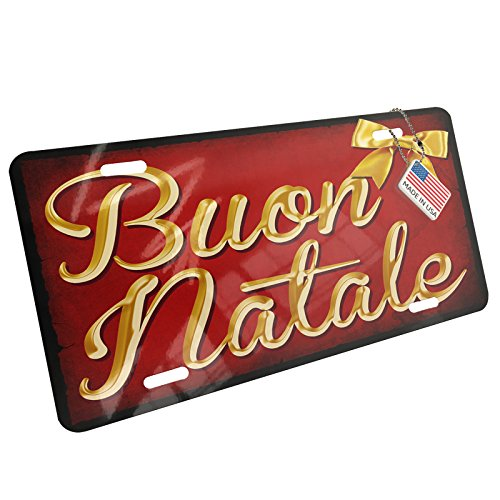 Metal License Plate Merry Christmas in Italian from Italy, Vatican City, San Marino - Neonblond